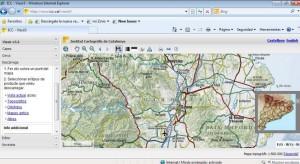 Pàgina web de l'Institut Cartogràfic de Catalunya, amb l'aplicatiu lliure de l'eina Visir3.